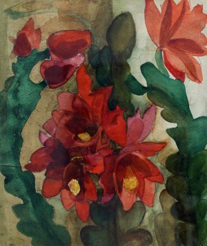 N. Trehubov Red Blossom', 1977, watercolour on paper