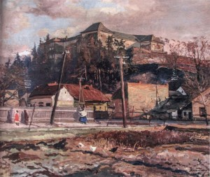 Uzhhorod Castle, 1950s, oil on board, 100x115