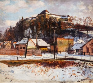Uzhhorod Castle, 1960s, oil on canvas, 98x111