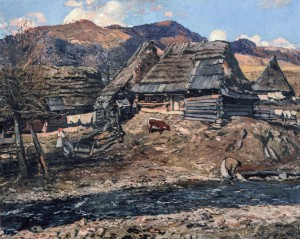 Uzhok Village, 1938, oil on canvas, 90x115