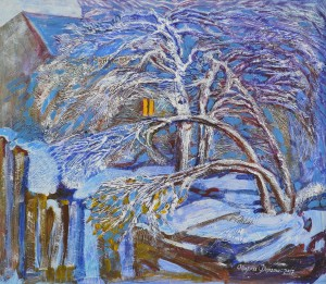O. Dolhosh. Winter Garden in Domanytsi Village, 2017, acrylic on cardboard