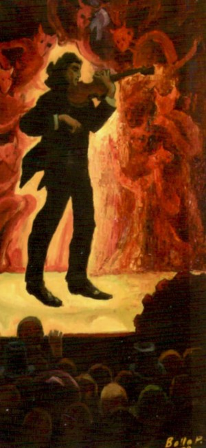 Niccolo Paganini, 1999, oil on cardboard, 100х50,5