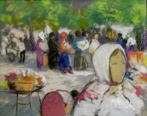 'At The Market', pastel on paper, 32,5x10,5.jpg