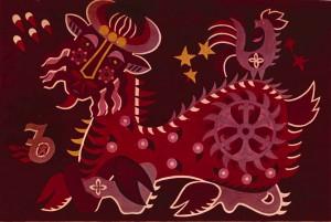 Знаки зодіака, декорат. композиція_4, 1974, карт., темпера, 53х36