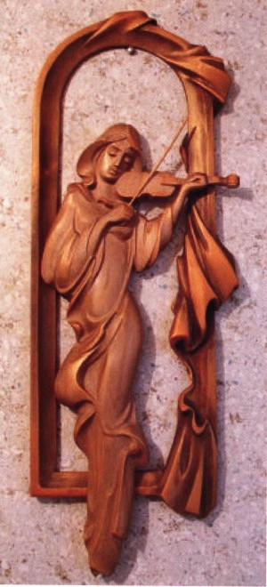 Melody of The Violin, 2012, woodcarving, relief