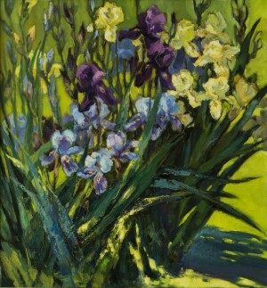 L. Slobodska 'Irises'. Etude, 2015, oil on canvas, 70x70