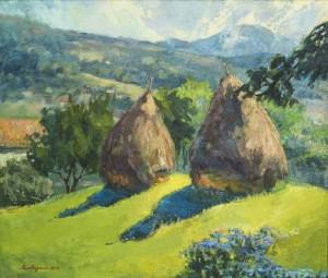 Haystacks in Kniahynia Village, 2016, oil on canvas, 60x70