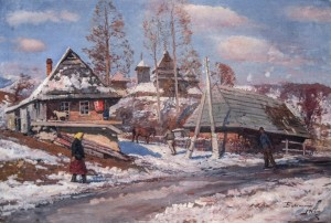 Uzhok Village, 1966, oil on canvas, 68x100