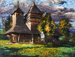 Church In Uzhok Village, 1936, pastel on cardboard, 50x65