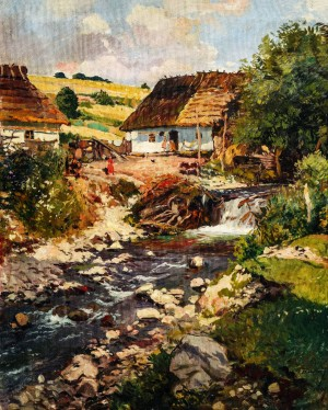Houses Above the Steam, 1940, oil on canvas, 100x80