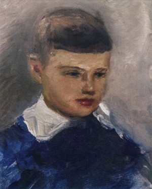 Boy In Blue, 1960s, oil on cardboard, 28x22