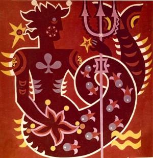 Знаки зодіака, декорат. композиція_3, 1974, карт., темпера
