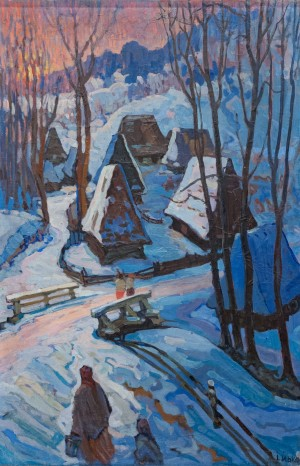 'Richka Village', 1959, oil on canvas, 78х17,5
