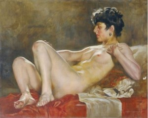 Lying Naked, oil on wood, 39,5х50