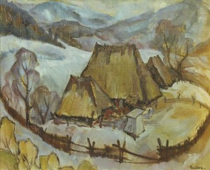 In the Farmstead Near Ust-Chorna Village, 1984, oil on cardboard, 57х70