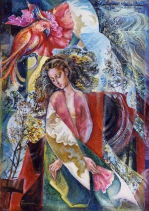 T. Sopilniak. 'A Woman With A Parrot', 1999, oil on canvas, 70x50