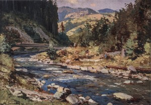 The Shchaul River, 1954, oil on cardboard, 50,5x70