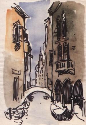 Венеціанська вуличка з каналом, 1964, пап. флом. акв. 28,5х20