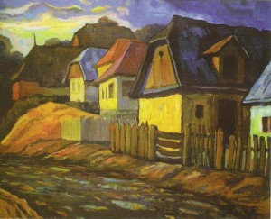 After Summer Storm In Horiany District, 2000, oil on cardboard, 60х70