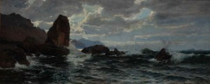 Coastal Cliffs, oil on canvas, 38x91