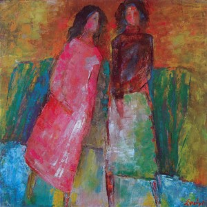 Friends, 2002, oil on canvas, 70x70