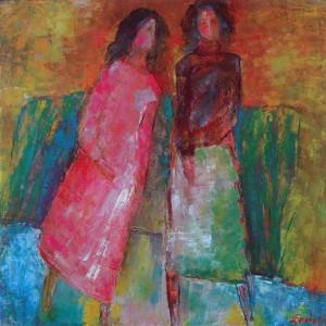 Подруги, 2002, п.о., 70х70