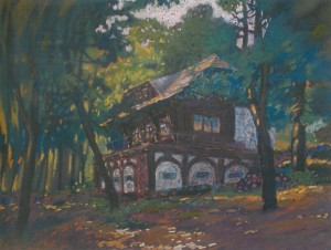 House Above The Lake, 2007, paper, pastel, 50х65
