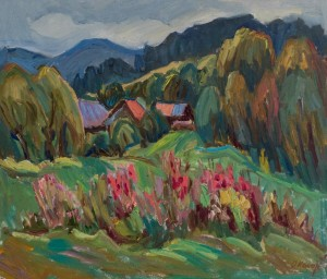 O. Kosar. Autumn in Uzhok Village. oil on canvas, 60x70