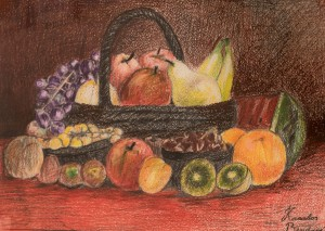 'Still Life With Fruits' The work of a student of th art school 'Rom Art'