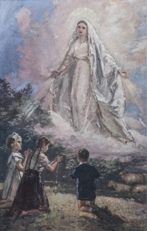 Appearance Of The Blessed Virgin To Children In Fatima, beginning of 1960s, oil on cardboard, 90x58