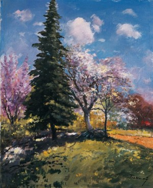 A Fir Tree Among The Blossoming Trees, 1970, oil on canvas, 78,5х64,5
