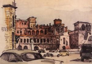 Площа в Італії, 1964, пап. флом. акв. 23х32,5