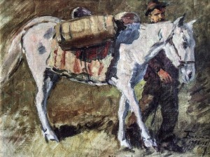Sketch For The Work Meeting On Polonyna, 1956-1958, oil on canvas, 42x56