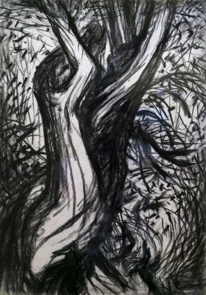 Endre Kusztos Duet I paper, charcoal 42х29