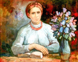 Portrait Of Lesia Ukrainka, 1991, oil on cardboard, 74х90