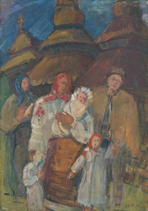 Christening, 1940, oil on fibrolite, tempera, 100x70