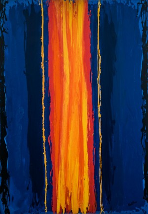 'Exit (fire pillar), from the cycle 'LOGOS', 2017, oil on canvas, 200x140