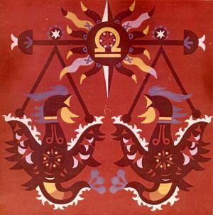 Знаки зодіака, декорат. композиція_1, 1974, карт., темпера