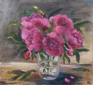 'Red Peonies', 2018, oil on canvas