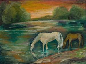 На заході сонця, 1990, к.о., 52х40