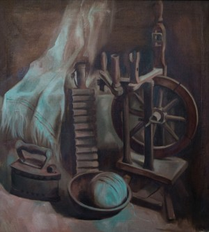 Still life With Flax Tow, 2006, oil on canvas, 75x50