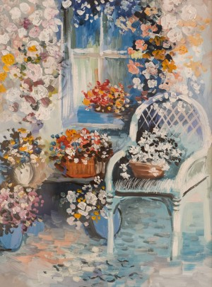 'On The Veranda' The work of a student of the art school 'Rom Art'