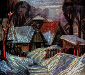 M. Peter Destitute Places, 1995, masonite on canvas, 75х85
