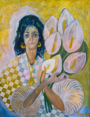 F. Seman, Portrait of a woman with calla lilies, 1996