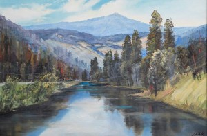 Mountain River, 2010, oil on masonite