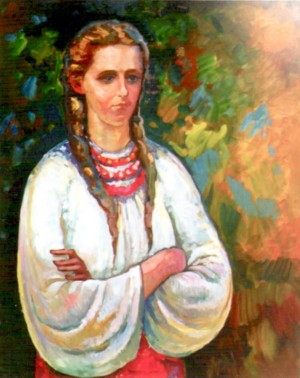 Portrait of young Lesia Ukrainka, 1991, oil on cardboard, 105,5х87