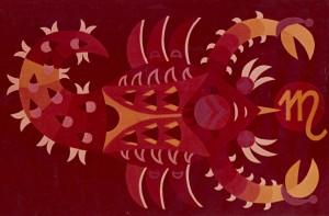 Знаки зодіака, декорат. композиція, 1974, карт., темпера