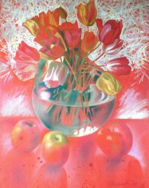 Tulips, 2008, paper, pastel, 65x50