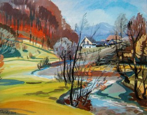 Uklin Village In Late Autumn, 2011, gouache, watercolour on cardboard, 40х50