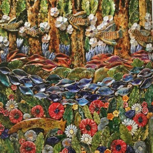 V. Tomashevska 'In The Forest', 2000, ceramic panel, 50x70